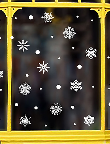 preiswerte Wand-Sticker-Weihnachtsschneeflockefensterfilm& ampampamp aufkleber dekoration tier / gemusterte urlaub / charakter / geometrische fensteraufkleber aus pvc (polyvinylchlorid)