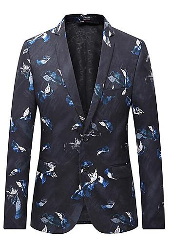 voordelige Herenblazers & kostuums-Heren Pakken, Effen Overhemdkraag Polyester Zwart