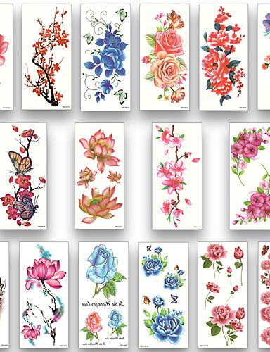 preiswerte Tattoo, Tätowierung-16 Blätter wasserdicht temporäre Tätowierung Wassertransfer Blume Aufkleber Schönheit Gesundheit Körper Arm Kunst Frauen Mädchen weiblich sexy Make-up