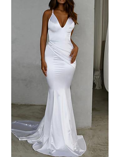 cheap Wedding Dresses-Mermaid / Trumpet V Neck Sweep / Brush Train Satin Spaghetti Strap Simple / Sexy Backless Wedding Dresses with 2020