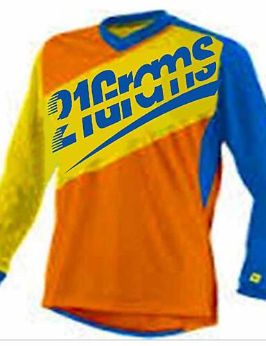 povoljno Odjeća za vožnju biciklom-21Grams Muškarci Dugih rukava Biciklistička majica Dirt Bike Jersey Red / White Crna / crvena Blue + Orange Bicikl Biciklistička majica Majice Brdski biciklizam biciklom na cesti UV otporan