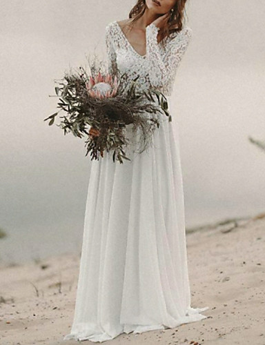 cheap Boho Wedding Dresses-A-Line V Neck Sweep / Brush Train Chiffon / Lace Long Sleeve Beach / Boho Backless / Illusion Sleeve Wedding Dresses with 2020