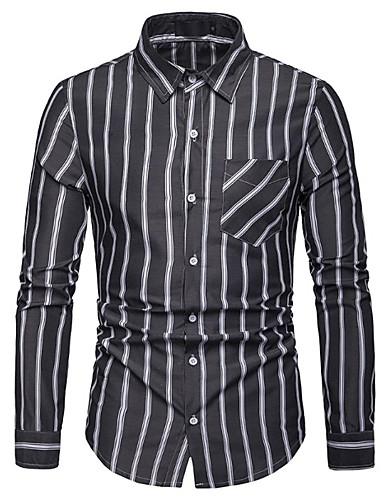preiswerte Schöne modische Herrenhemden-Herrn Gestreift EU- / US-Größe Hemd, Klassischer Kragen Schwarz / Langarm