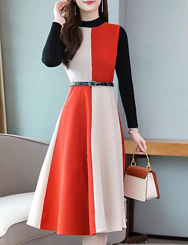 voordelige Grote maten jurken-Dames Standaard A-lijn Jurk - Kleurenblok Midi