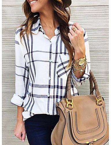 billige Dametopper-Skjorte Dame - Rutet Grunnleggende Hvit