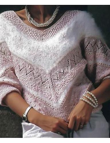 billige Gensere til damer-Dame Fargeblokk Langermet Pullover Genserjumper Rosa / Blå / Kakifarget S / M / L