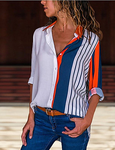cheap Women's Tops-Women's Daily Blouse - Striped / Floral Shirt Collar White