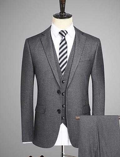 levne Pánské blejzry a saka-Pánské Obleky, Jednobarevné Klasické klopy Polyester Bílá