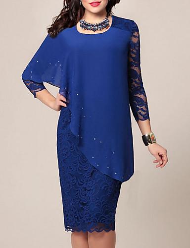 preiswerte Damenbekleidung Ausverkauf-Damen Bodycon Kleid - Spitze Chiffon Knielang