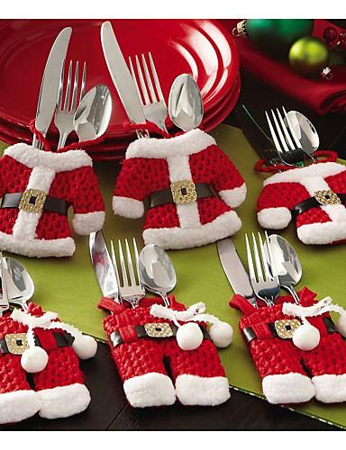 povoljno Kućni ukrasi-6pcs božićni pribor za jelo stol vreća pribor za jelo džep pribor za jelo vreća santa Claus večera stol ukras doma