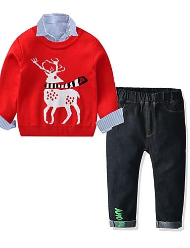 preiswerte Mode für Jungs-Kinder Jungen Grundlegend Festival Druck Weihnachten Langarm Kleidungs Set Rote
