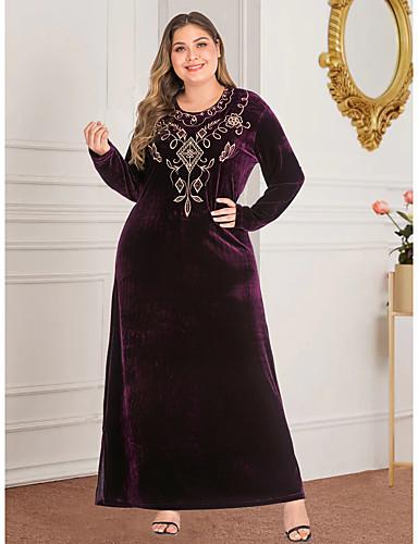 voordelige Grote maten jurken-Dames Vintage Standaard Recht Abaya Jurk - Geometrisch, Split Geborduurd Maxi