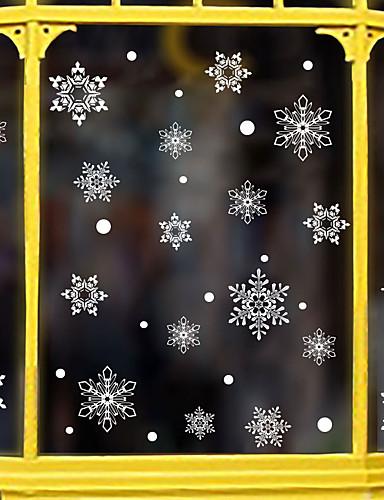 billige Veggklistremerker-julen snøfnugg vindu film& klistremerker dekorasjon tegneserie / jul geometrisk / blomst / blomster / ferie pvc (polyvinylklorid) vindu klistremerke / dør klistremerke / søt