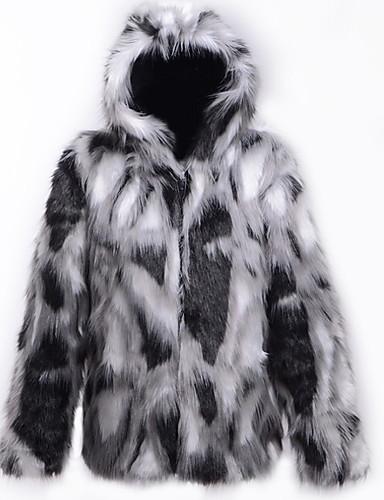 levne Pánská saka a kabáty-Pánské Denní Podzim zima Standardní Faux Fur Coat, Barevné bloky Kapuce Dlouhý rukáv Umělá kožešina Černá