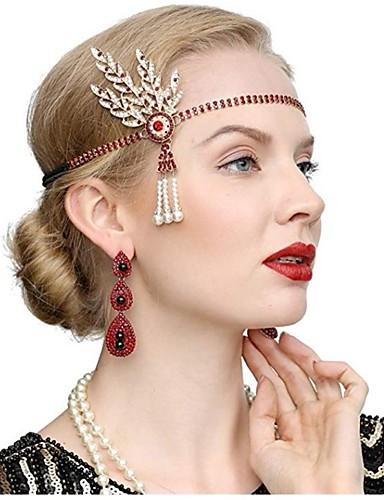 preiswerte Cosplay Kostüme-The Great Gatsby Retro 20er Gatsby Flapper Haarband Damen Kostüm Ohrring Schwarz / Golden / Golden + schwarz Vintage Cosplay Festival / 1 Paar Ohrringe / Kopfbedeckung / 1 Paar Ohrringe