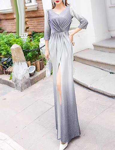 levne Maxi šaty-Dámské Vintage Elegantní Mořská panna Šaty - Barevné bloky, Nabírané šaty Rozparek Maxi