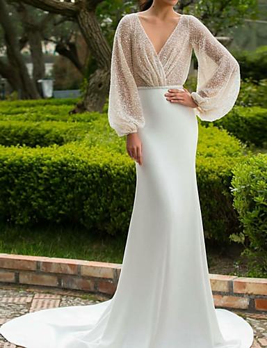cheap Wedding Dresses-Mermaid / Trumpet V Neck Court Train Satin Long Sleeve Simple Backless / Illusion Sleeve Wedding Dresses with 2020