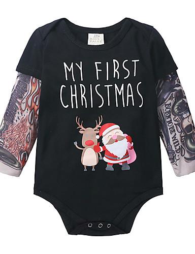 preiswerte Kindermode-Baby Jungen Aktiv / Grundlegend Weihnachtsmann Einfarbig / Weihnachten Langarm Einzelteil Schwarz