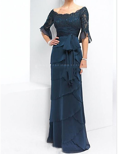 cheap Mother of the Bride Dresses-A-Line Mother of the Bride Dress Elegant & Luxurious Off Shoulder Floor Length Chiffon Lace Half Sleeve with Sash / Ribbon Bow(s) Appliques 2020 Mother of the groom dresses