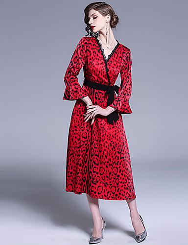 voordelige Maxi-jurken-Dames Verfijnd A-lijn Jurk - Luipaard, Kant Patchwork Print Midi Rood