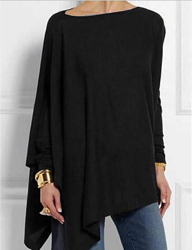 economico T-Shirt da donna-T-shirt Per donna Tinta unita Nero