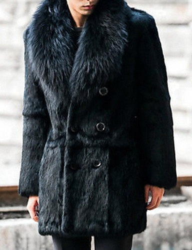 levne Pánská saka a kabáty-Pánské Denní Podzim zima Standardní Faux Fur Coat, Jednobarevné Polostojatý límec Dlouhý rukáv Umělá kožešina Černá