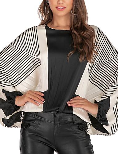 billige T-skjorter til damer-T-skjorte Dame - Geometrisk, Lapper Gatemote Svart og hvit Hvit