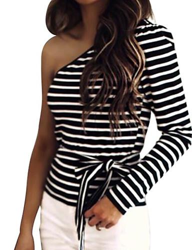 billige Dametopper-T-skjorte Dame - Stripet Grunnleggende Svart og hvit Svart