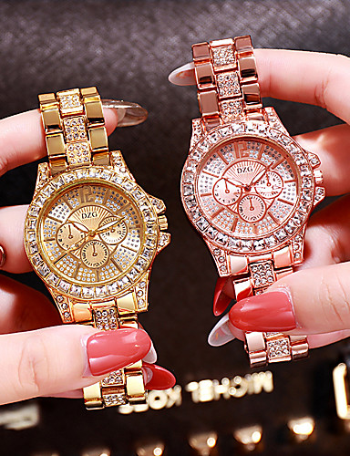 olcso Divatórák-Női Luxus karórák Diamond Watch Arany óra Kvarc hölgyek Rozsdamentes acél Ezüst / Arany / Vörös arany Analóg - Vörös arany Arany Ezüst / Japán / Japán
