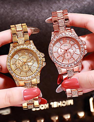 preiswerte Mode Uhr-Damen Uhr Luxus-Armbanduhren Diamond Watch Goldene Uhr Japanisch Quartz Edelstahl Silber / Gold / Rotgold Analog damas Charme Modisch Bling Bling Rotgold Gold Silber