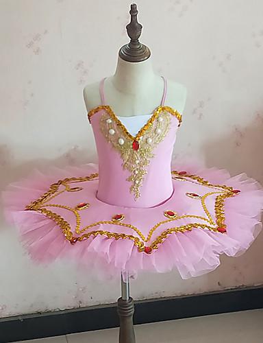 voordelige Shall We®-Ballet Jurken Meisjes Opleiding / Prestatie Netstof / Pailletten / Melkvezel Kant / Pareldetails / Sjerpen / Linten Mouwloos Natuurlijk Kleding