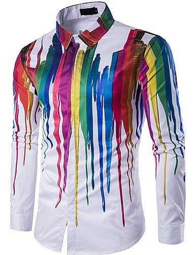preiswerte Schöne modische Herrenhemden-Herrn Geometrisch Hemd Weiß