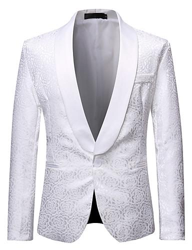 voordelige Herenblazers & kostuums-Heren Blazer, Bloemen Sjaalrevers Polyester Zwart / Wit
