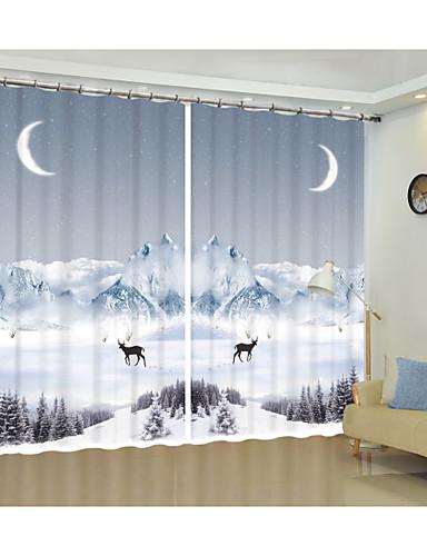 preiswerte WIEDER AUF LAGER-snow mountain deer digitaldruck 3d vorhang schattierung kreative vorhang hochpräzise schwarz seidenstoff hochwertige erstklassige schattierungsvorhang