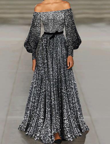 levne Maxi šaty-Dámské Elegantní Swing Šaty Flitry Maxi Pod rameny