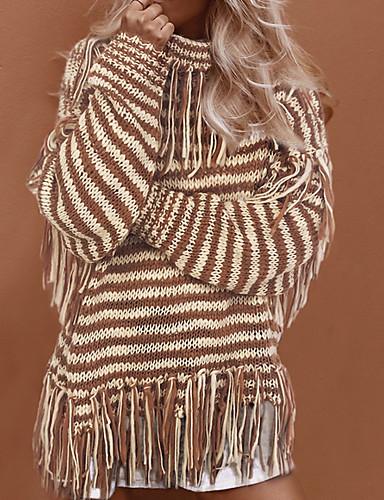 billige Dametopper-Dame Stripet Langermet Løstsittende Pullover Genserjumper, Rullekrage Beige / Kakifarget S / M / L