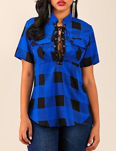billige Skjorter til damer-Tynn V-hals Skjorte Dame - Rutet, Blondér / Lapper / Trykt mønster Blå