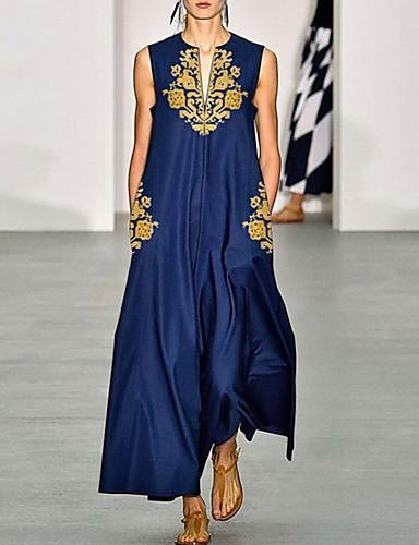 cheap Autumn New Outfits-Women's Elegant A Line Dress - Floral Navy Blue S M L XL