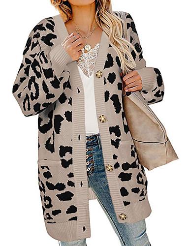 billige Dametopper-Dame Leopard Langermet Løstsittende Cardigan Genserjumper, Krageløs Hvit / Gul / Grå S / M / L
