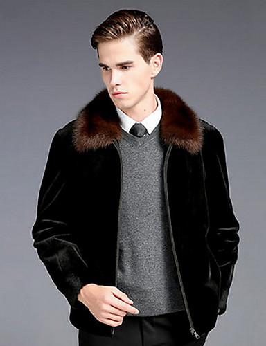 Férfi Napi Ősz & tél Szokványos Faux Fur Coat, Egyszínű Lehajtott gallér Hosszú ujj Műszőrme Fekete