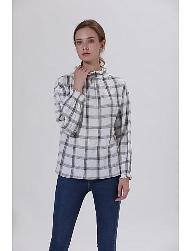 billige Dametopper-Skjorte Dame - Rutet, Flettet / Lapper Vintage / Elegant Kran / Ananas / Tusenfryd Hvit