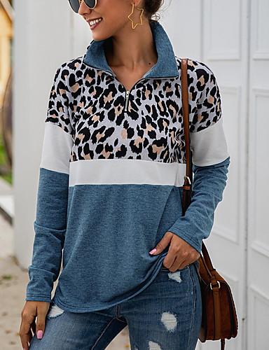 cheap Women's Hoodies & Sweatshirts-Women's Casual Sweatshirt - Leopard Blue S