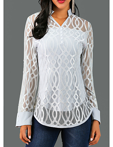 cheap 11.11 Bestsellers Super Discount!!!-Women's Causal Blouse - Solid Colored / Geometry Lace V Neck Gray / Spring / Fall