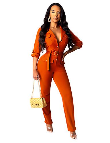 Női Alap / Utcai sikk Állógallér Narancssárga Tengerészkék Jumpsuitek Egyrészes, Egyszínű Zsinór S M L