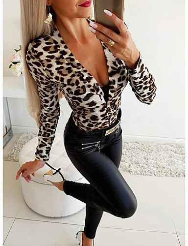 billige Jumpsuits og sparkebukser til damer-Dame Grunnleggende Hvit Grå Sparkedrakter, Leopard Trykt mønster S M L
