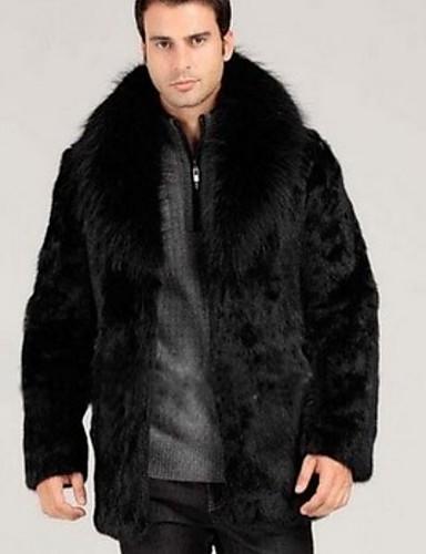 Férfi Napi Ősz & tél Szokványos Faux Fur Coat, Egyszínű Térfogatcsökkenés Hosszú ujj Műszőrme Fekete
