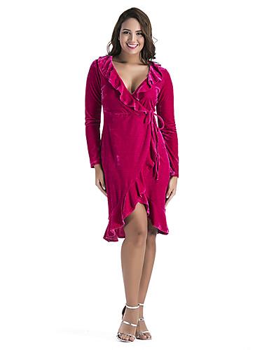 voordelige Grote maten jurken-Dames Standaard Schede Jurk - Effen Asymmetrisch