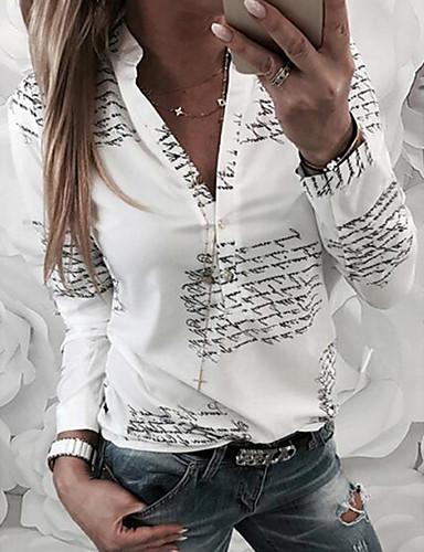 billige T-skjorter til damer-V-hals T-skjorte Dame - Bokstaver Hvit