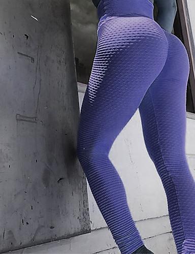 povoljno Odjeća za fitness, trčanje i jogu-Žene Visoki struk Hlače za jogu Žakard Podizanje prignječenog trzaja Crn Svijetlosiva Obala Sky blue Fuksija Spandex Trčanje Fitness Trening u teretani Biciklizam Hulahopke Tajice Sport Odjeća za