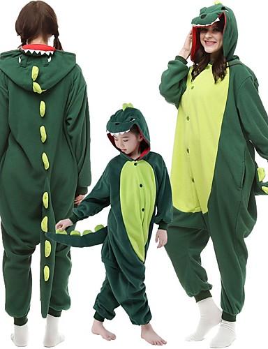 preiswerte Sale-Kinder Erwachsene Kigurumi-Pyjamas Dinosaurier Monster Pyjamas-Einteiler Flanell Dunkelgrün / Rot Cosplay Für Herren und Damen Tiernachtwäsche Karikatur Fest / Feiertage Kostüme